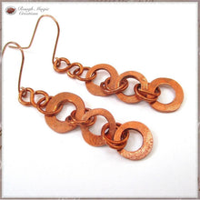 Load image into Gallery viewer, Long Copper Earrings, Rustic Boho Shoulder Dusters with Forged Hammer Textured Primitive Ring Dangles Handmade by Rough Magic Creations online jewelry shop.