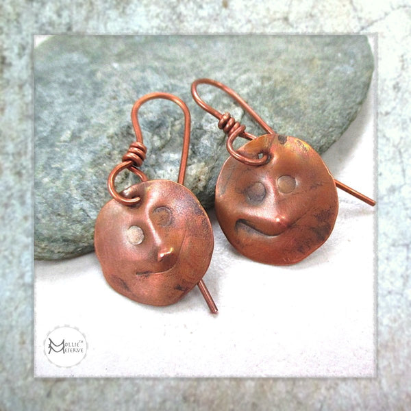 Antiqued Copper Smiling Faces Emoji Earrings
