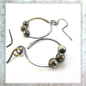 Sterling Silver Earrings Antiqued Beaded Hoops