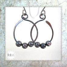 Load image into Gallery viewer, Large sterling silver hammered dangle earrings beaded open hoops antiqued patina