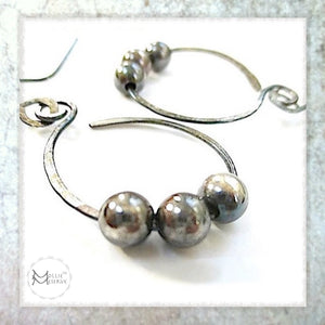 handmade earrings sterling silver jewelry antique patina