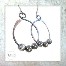Load image into Gallery viewer, hoop earrings handmade jewelry oxidized sterling silver beaded