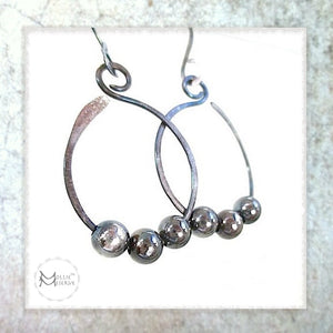 hoop earrings handmade jewelry oxidized sterling silver beaded