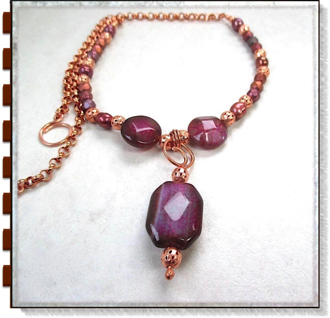 Magenta Gemstone Pendant Necklace, Agate, Pearls, Czech Glass, Copper Chain