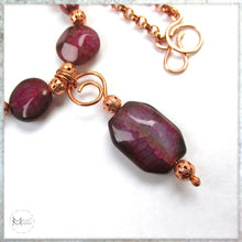Load image into Gallery viewer, Magenta Gemstone Pendant Necklace, Agate, Pearls, Czech Glass, Copper Chain