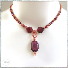 Load image into Gallery viewer, Adjustable choker to matinée long necklace with purple gem pendant, stones and pearls. Glamorous handcrafted fashion for elegant evening.