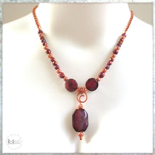 Load image into Gallery viewer, Boho Glam necklace with magenta stone pendant, solid copper, real pearls, elegant jewelry handmade by Mollie Meserve for Rough Magic Creations.