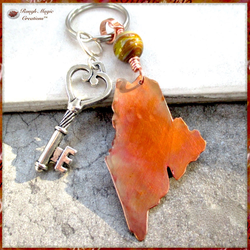Maine State Keychain Hand Forged Copper and Green Agate Gemstone Souvenir Keepsake Accessories for Women and Men Handmade by Rough Magic Creations