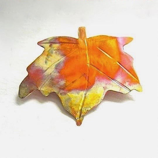 Maple Leaf Copper Brooch, Autumn Leaves Rustic Pin, Hand Forged Artisan Metalwork Jewelry Handmade by Rough Magic Creations
