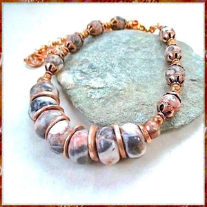 Pink and Gray Mexican Agate and Jasper Necklace, handmade with semi- precious stones, hand forged copper spacers, copper petal cops and chain. Elegant, sophisticated fashion jewelry for women handcrafted by Rough Magic Creations