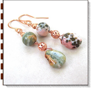 Mismatched Long Dangle Earrings, Multicolor Pink & Green Gemstones, Copper