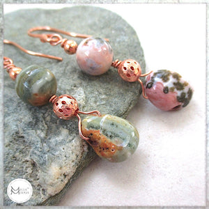 Mismatched Long Dangle Earrings with Multicolor Pink and Green Gemstones and Copper