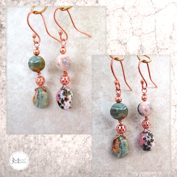 Mismatched Long Dangle Earrings with Multicolor Pink & Green Gemstones and Copper