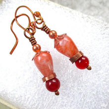 Load image into Gallery viewer, Autumn colors and eclectic style, fall fashion earrings combine old world charm with avant garde style: red and orange gemstones, upcycled copper.