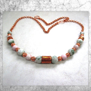 Pastel Pink and Green Gemstone Necklace with Copper Beads & Chain