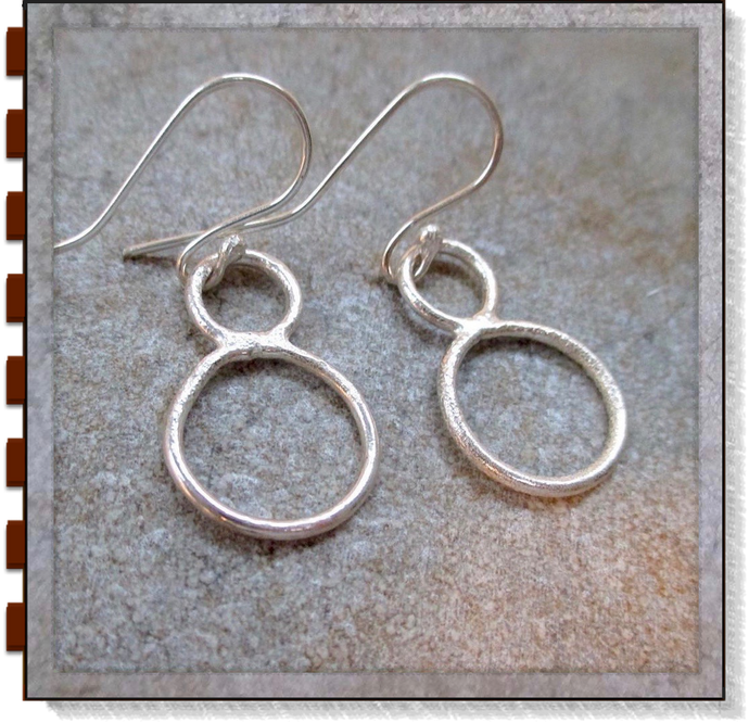 Molten Metal Earrings Rustic Sterling Silver Drops