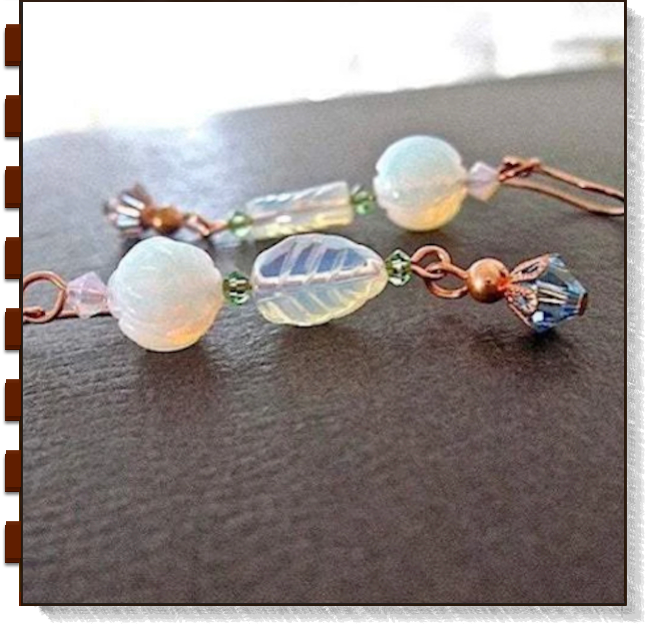 Moonstone Earrings Dangles with Glass Floral Beads, Crystals & Copper