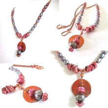 Load image into Gallery viewer, Copper Colorful Pearls Boho Pendant Beaded Necklace Red Blue Genuine Freshwater Pearls