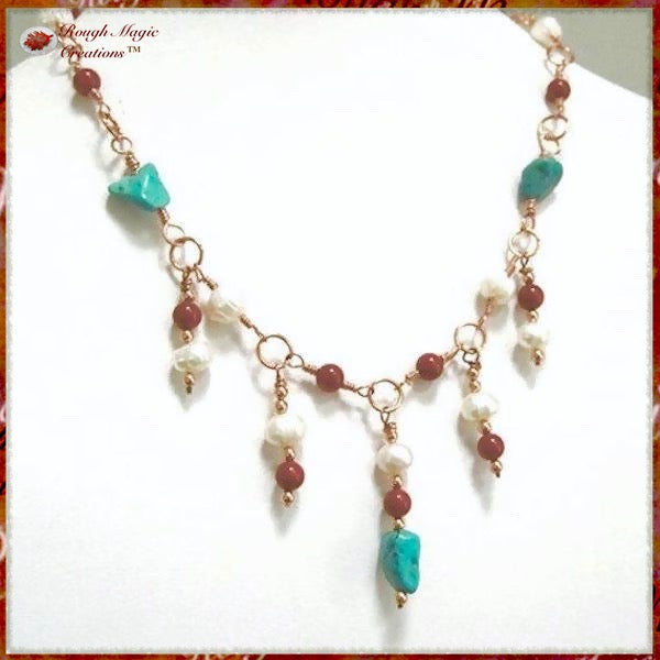 Southwest Colors Necklace with Turquoise Stones, Pearls, Coral, Copper - boho tribal handmade jewelry by Rough Magic Creations