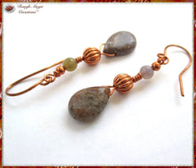 Load image into Gallery viewer, Ocean Jasper Teardrop Earrings, Earthy Gemstones and Copper