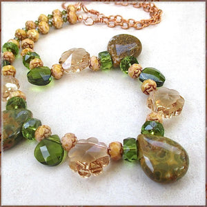 Olive Green Necklace Earth Tone Gemstones, Crystals, Copper