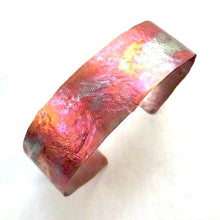 Load image into Gallery viewer, Unique Copper Cuff Bracelet, Colorful Flame Washed Metal Jewelry