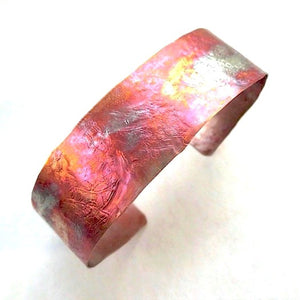 Unique Copper Cuff Bracelet, Colorful Flame Washed Metal Jewelry