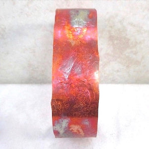 Copper Cuff Bracelet Colorful Flame Washed Metal Jewelry