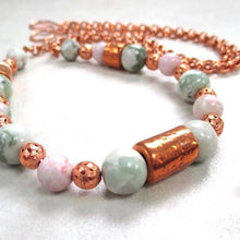 Load image into Gallery viewer, Pastel Pink and Green Gemstone Necklace with Copper Beads & Chain