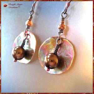 Pearl Drop Earrings with Hammered Copper Discs