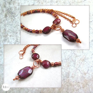 Magenta Gemstone Pendant Necklace with Agate, Pearls, Czech Glass and Copper Chain