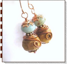 Load image into Gallery viewer, Peruvian Opal Gemstone Earrings with Handmade Carved Wood Wooden Beads and Copper, October birthstone jewelry handmade by Mollie Meserve for Rough Magic Creations