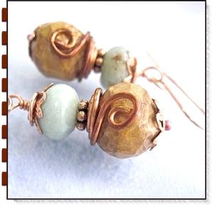 Peruvial Opal Earrings with Handmade Wooden Beads and Copper