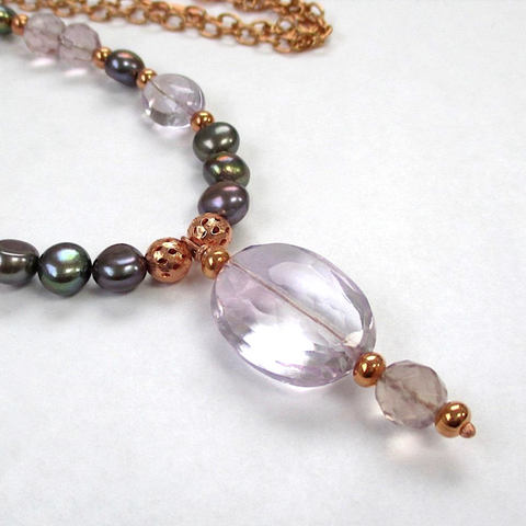 Pink Gemstone Pendant Necklace with Amethyst, Pearls, Fluorite and Copper Chain