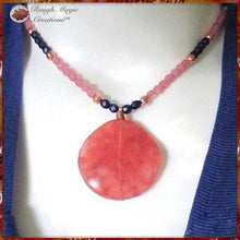 Load image into Gallery viewer, Pink Gemstone Pendant Necklace with Blue Beads and Copper