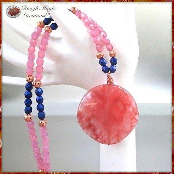 Pink Gemstone Pendant Necklace with Blue Beads and Copper