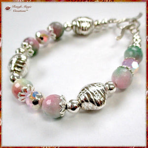Pink and Green Gemstone Bracelet with Sterling Silver Toggle