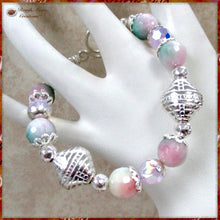 Load image into Gallery viewer, Pink and Green Gemstone Bracelet with Sterling Silver Toggle