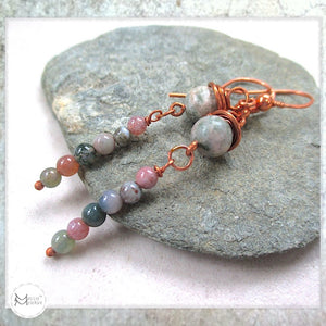 Pink and Green Gemstone Earrings, Long Dangles with Jasper Stones and Copper