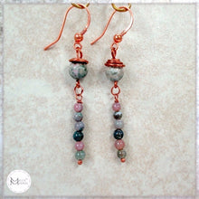 Load image into Gallery viewer, Pink and Green Gemstone Earrings, Long Dangles with Jasper Stones and Copper