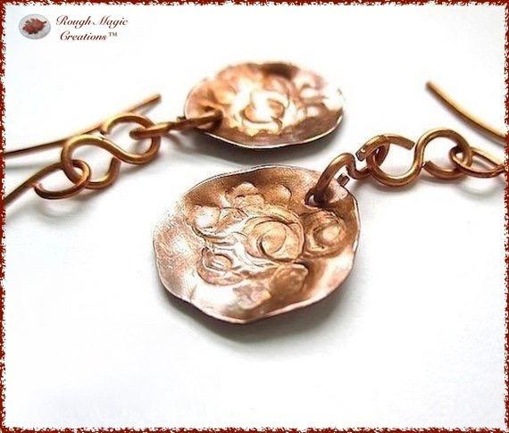 Primitive Antique Copper Earrings with Hammered Metal Coin Dangles