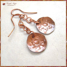 Load image into Gallery viewer, Primitive Antique Copper Earrings with Hammered Metal Coin Dangles