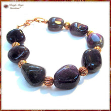 Load image into Gallery viewer, Purple Amethyst Gemstone and Copper Bracelet, February Birthstone
