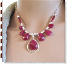 Load image into Gallery viewer, Red Ruby & Sterling Silver Pendant Necklace