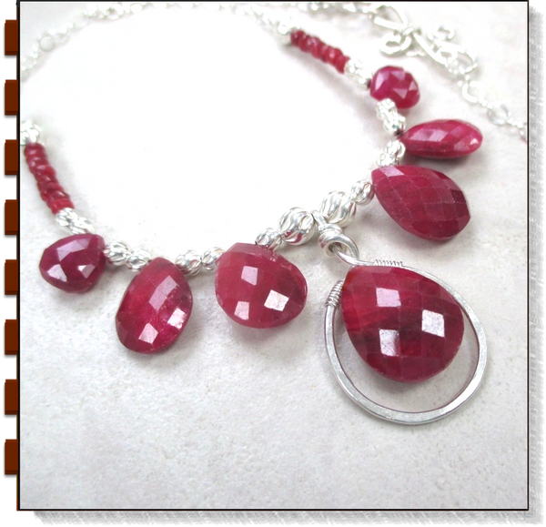 Red Ruby & Sterling Silver Pendant Necklace