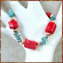 Load image into Gallery viewer, Red Coral anBoho Jewelry for Women: Turquoise Southwestern Bracelet with Copper Accent Beads, Southwest Colors, Eclectic Design Handmade in Maine, USA, by Rough Magic Creations, Made in America.