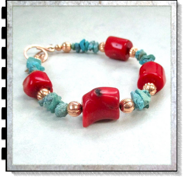 Red Coral and Turquoise Southwestern Bracelet with Copper Accent Beads