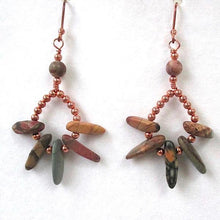 Load image into Gallery viewer, Red Creek Jasper Earrings, Earth Tone Dangles, Gemstone Spikes, Copper