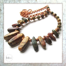 Load image into Gallery viewer, Earthy Gemstone Necklace in Southwestern colors and boho tribal style with red creek jasper and copper, handmade jewelry by Mollie Meserve for Rough Magic Creations.