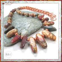 Load image into Gallery viewer, Red Creek Jasper Gemstone and Copper Necklace, Southwest Color Stones, Handmade in America by Mollie Meserve Designs for Rough Magic Creations.